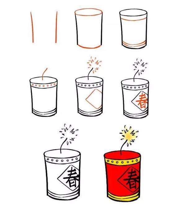 鞭炮怎么画,新年简笔画,用灯笼、鞭炮、红包一起迎接春节吧!