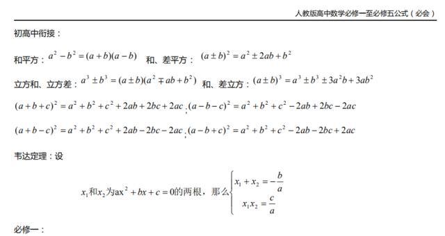人教版!北大学霸精心整理:高中数学必修1—必修5公式大全