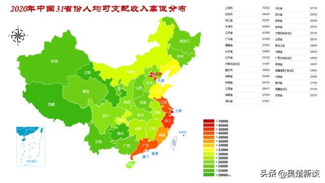 2020年中国各省人均收入高矮遍布一览