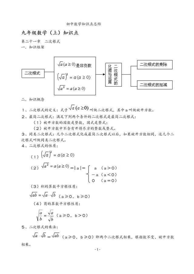 人教版初中数学七、八、九年级知识点及公式总结