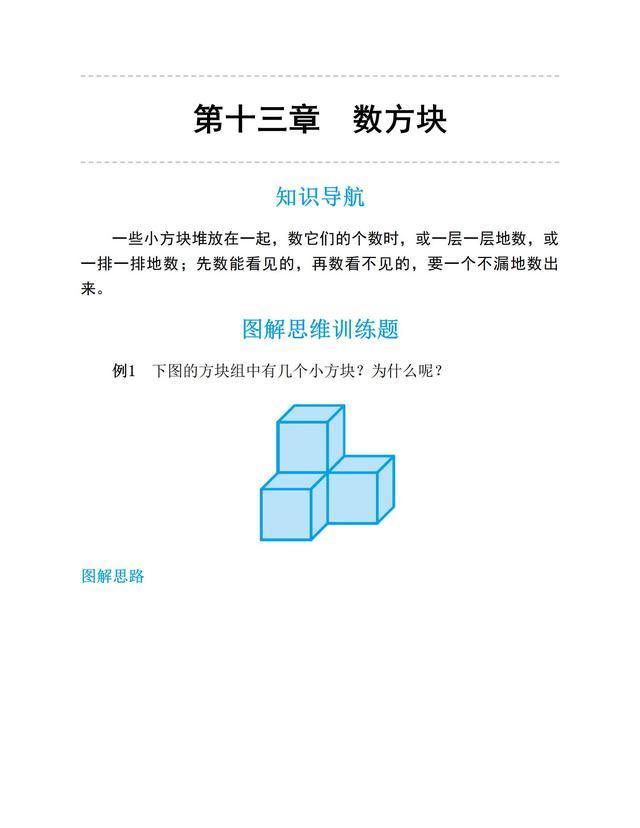 一年级数学下册图解思维训练题(数方块、图形的组合分割)