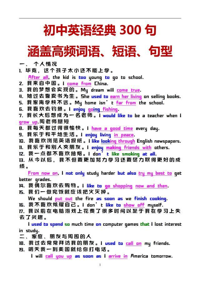 班主任:背完这些典型的句子,掌握初中核心短语和句型结构