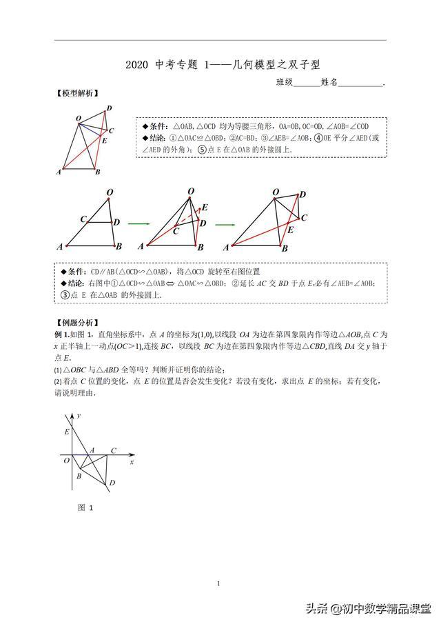 2020 中考数学专题 1——几何模型之双子型