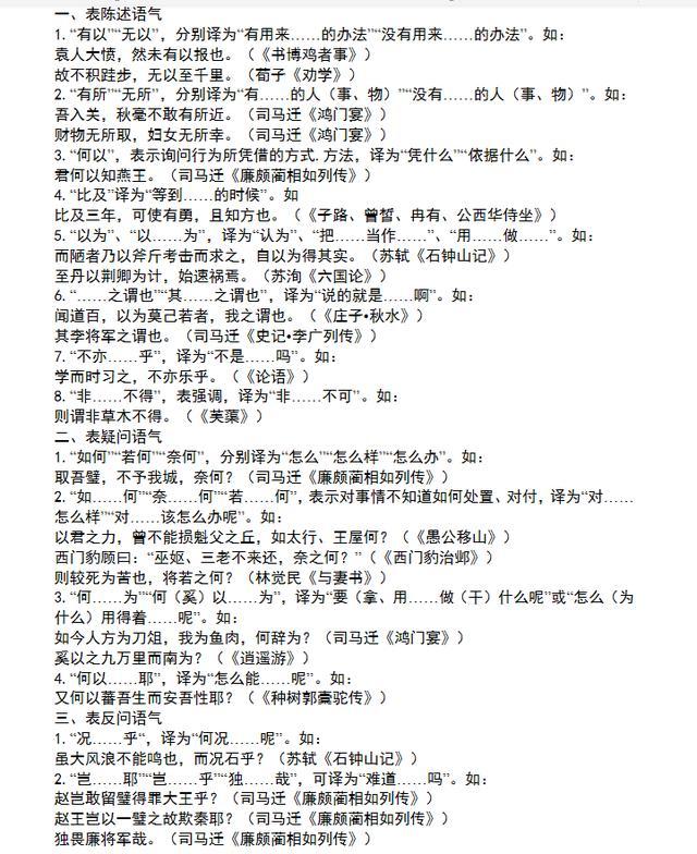 高中语文文言文语法固定句式技巧(附必修选修文言考点清单)