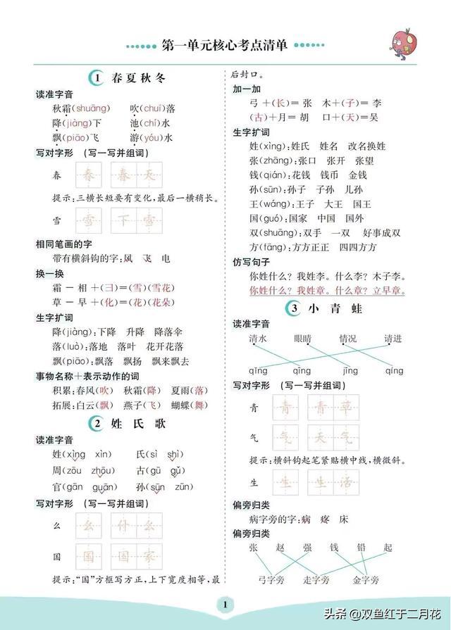 一年级语文下册1-4单元考点总结