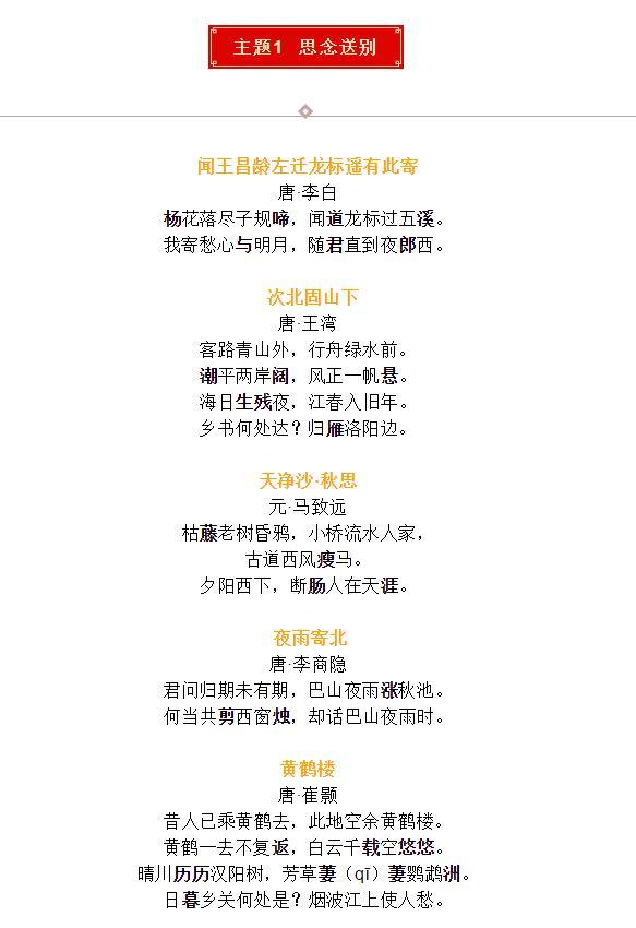 初中语文40首中考语文重点古诗词高效复习,分主题背诵