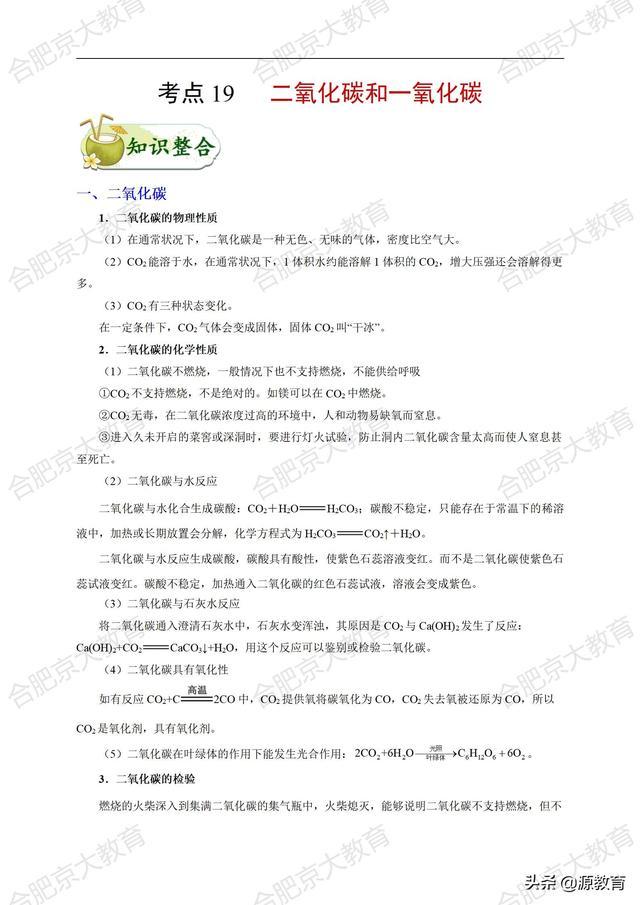 合肥京大教育2021年初中化学知识点一遍过(专题19)