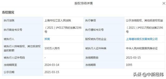 郑爽最近消息,郑爽一周内3次股权被冻结,累计金额超1500万元