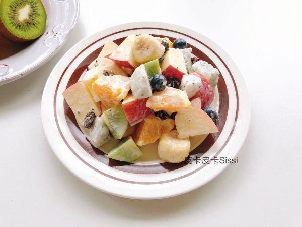 水果的吃法,无糖基本苹果香蕉奇异果水果沙拉