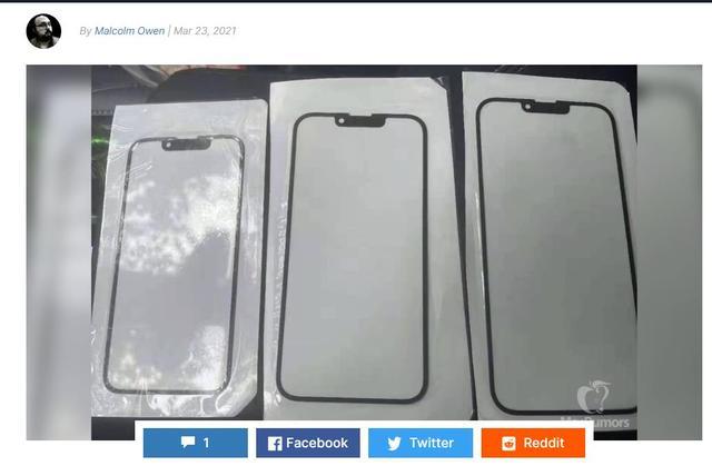 """苹果图片,""""刘海儿""""终于变小了:外媒曝光iPhone 13前玻璃面板照片"""