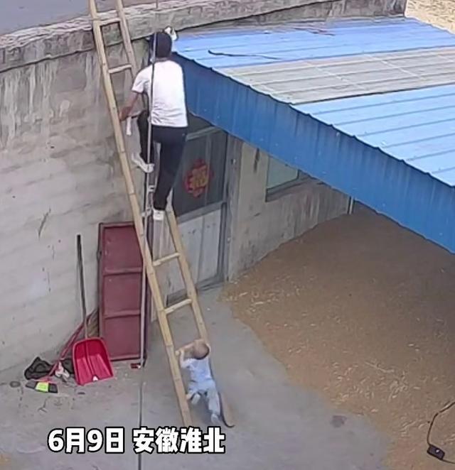 小宝宝尾随爸爸爬上梯子险些掉下,网友:隔着屏幕都害怕 全球新闻风头榜 第1张