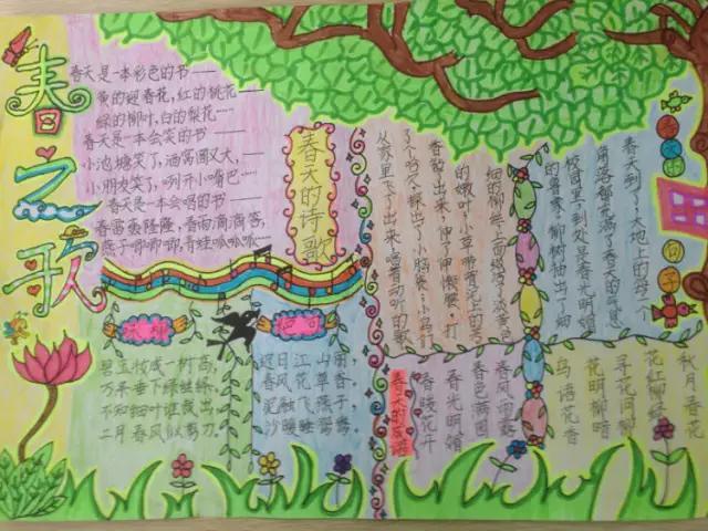 手抄报小学生,写春天的成语、手抄报,与你共赏春暖花开