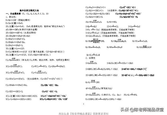 16页pdf「化学」高考必备高中化学方程式大全(分类)