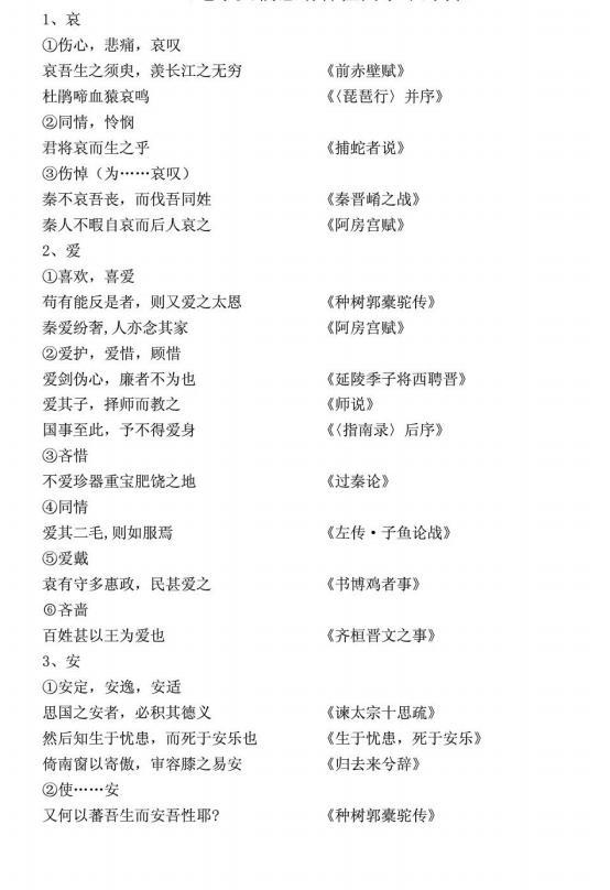 独家发布:高中语文文言文300个常见实词(可打印)转给孩子