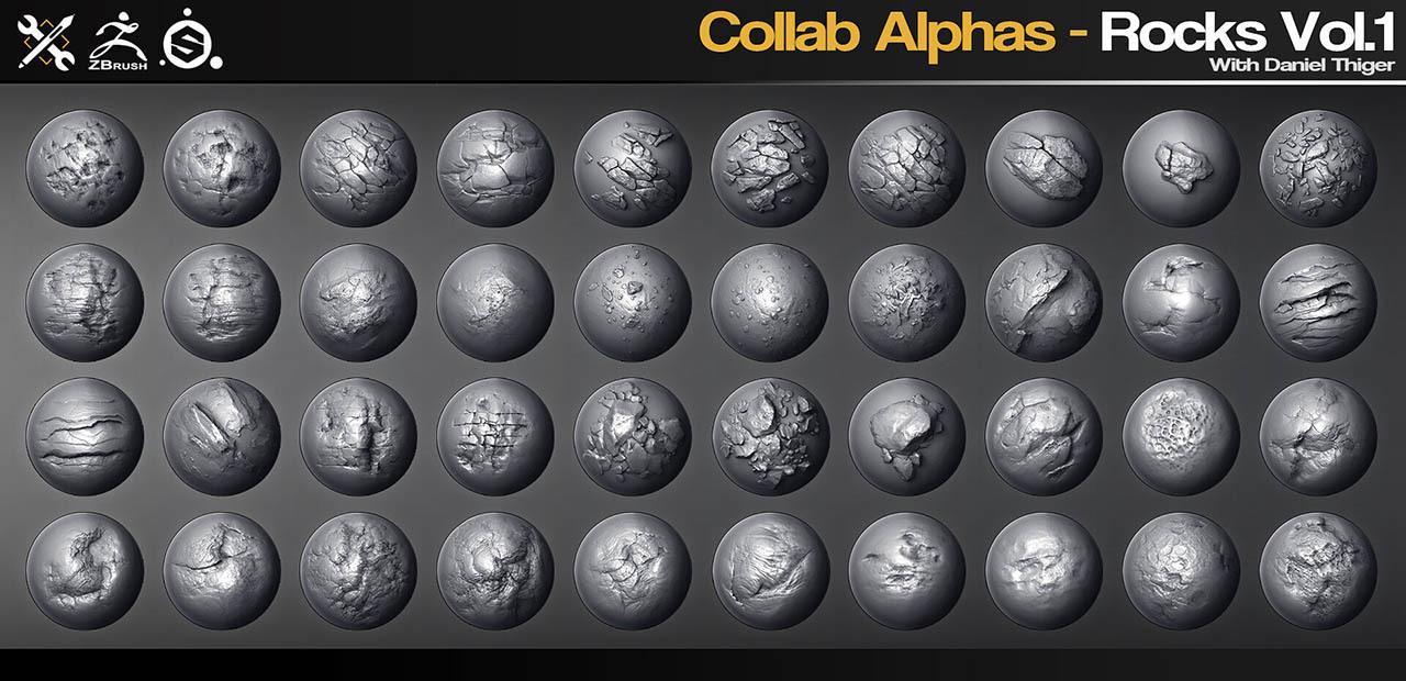40组2K高清岩石裂痕碎片ZBrush Alphas画笔合集