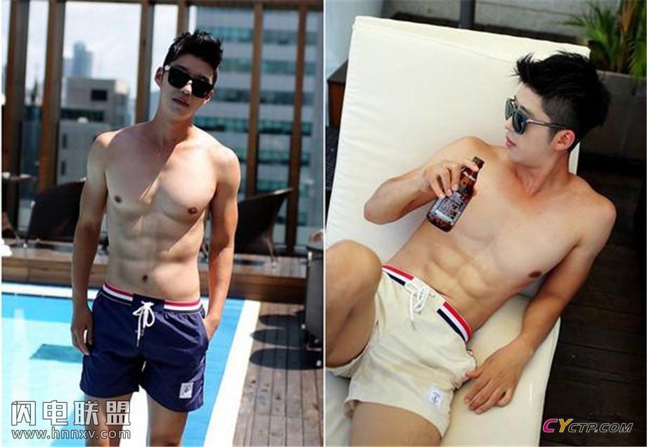 帅气亚洲小哥哥大秀健壮肌肉写真图片