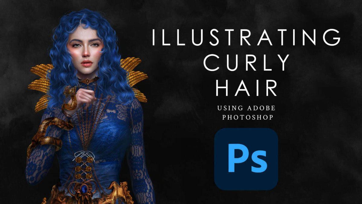 PS绘制女性大波浪卷发教程 Photoshop手绘头发教程 Illustrating Curly Hair