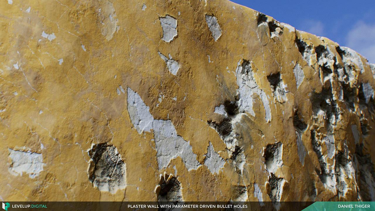 Plaster Wall with Parameter-driven Bullet Holes Daniel Thiger 子弹洞贴图材质预设 程序参数制作弹孔石膏墙