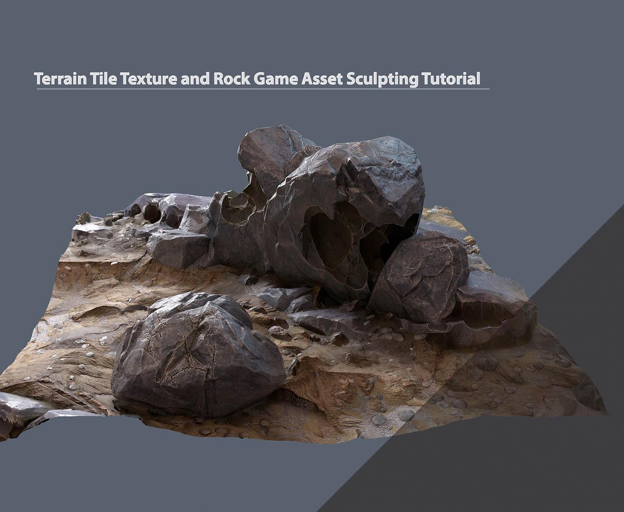 游戏石头地形模型材质预设教程 Terrain Tile Texture and Rock Game Asset Sculpting Tutorial