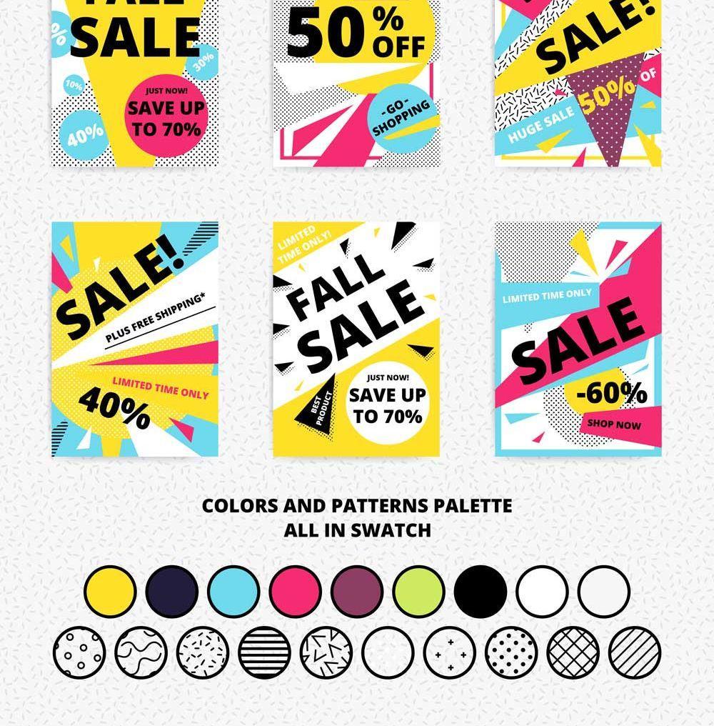 矢量图形-18款通用促销海报图案矢量素材包sale posters + patterns(5)