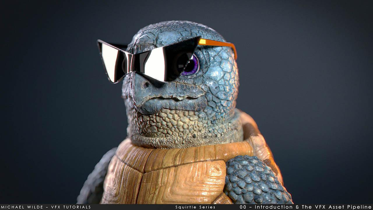 Gumroad – Squirtle Modelling & Texturing Series by Michael Wilde – ZBrush Maya Mari乌龟建模材质教程