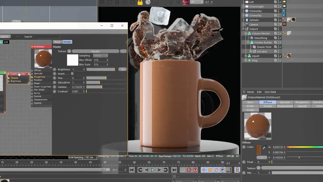 C4D动力学咖啡飞溅特效 C4D咖啡泼洒流体动力学教程 Creating Coffee Splashes Using Zero Dynamics
