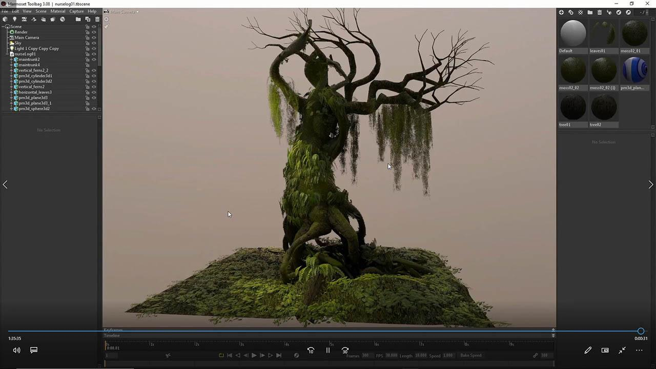 Creating Old Growth Mossy Tree - Tutorial and Game Assets 生长苔藓古树