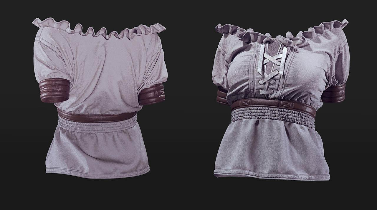 中世纪女式上衣MD制作教程+衣服模型