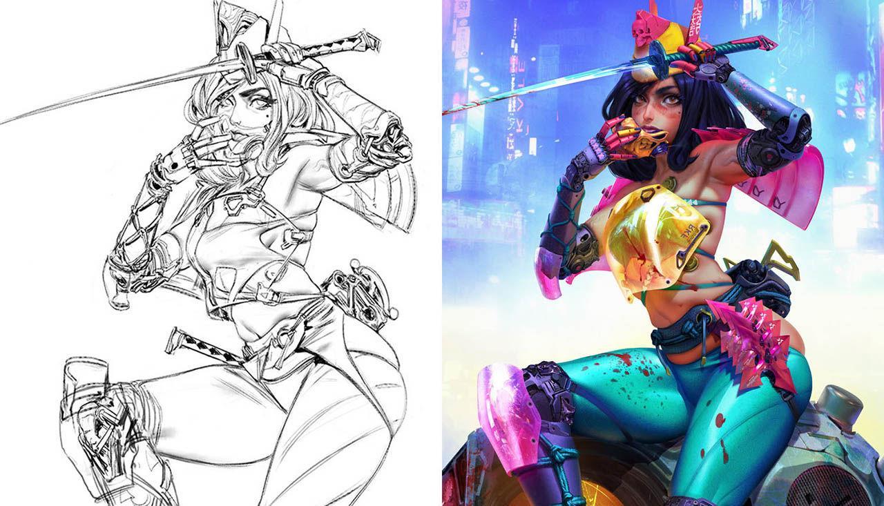 Cyberpunk Sam – From Sketch to Final – Artstation 赛博朋克卡通人物PS绘画教程