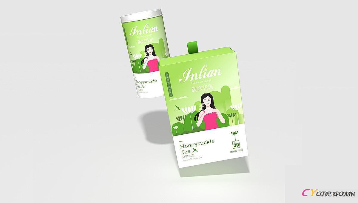 花茶-《颐恋花语》包装设计 | 蜂鸟停在忍冬花上