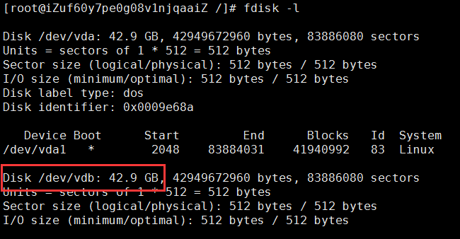 Centos挂载硬盘完整图文教程(查看、分区、格式化、挂载)磁盘