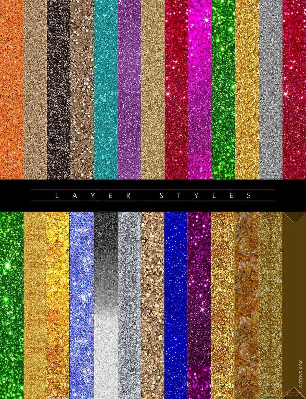 平面素材-PS闪光星光化妆眼影唇彩素材Ron's Glitter笔刷+样式+背景图片(7)