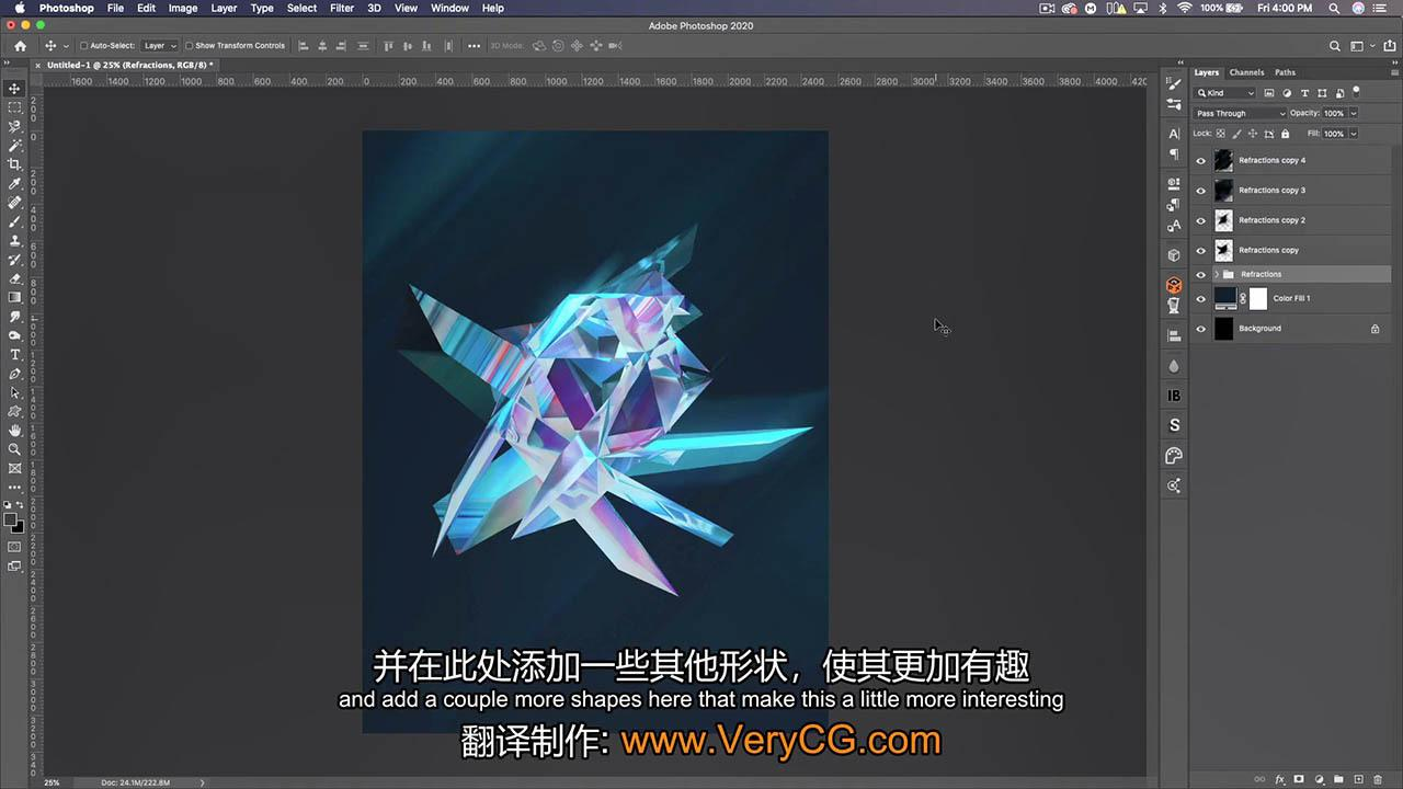 C4D和PS创建抽象动态海报 How to Create Abstract Refraction Facet Posters in C4D & Photoshop