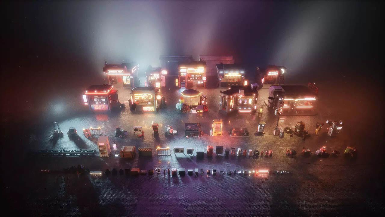 科幻风朋克街道游戏场景模型  Cyber Streets (HDRP)