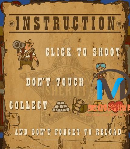 html5西部牛仔枪战射击游戏源码-美创资源网