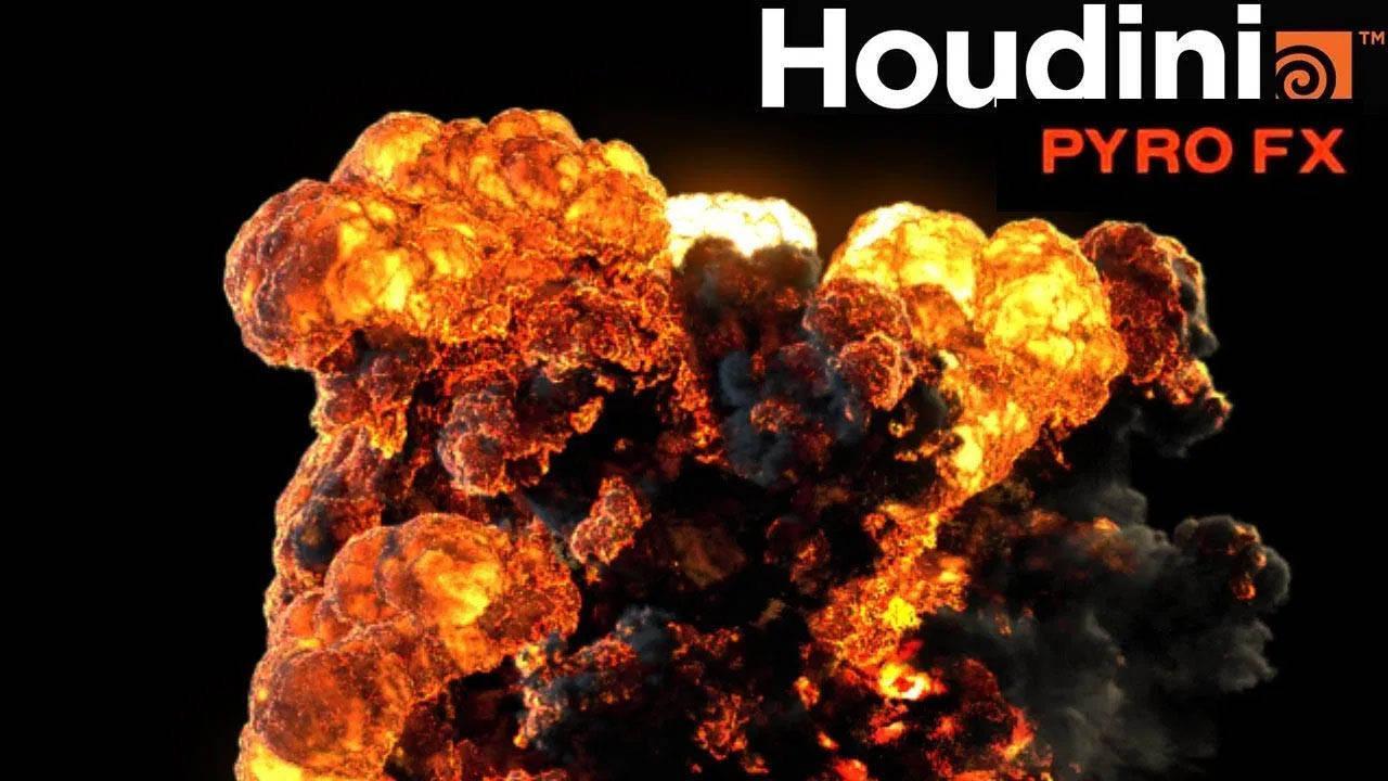 Houdini爆炸火焰烟雾特效教程 烟雾+火焰 Explosion with PyroFX Series 1&2