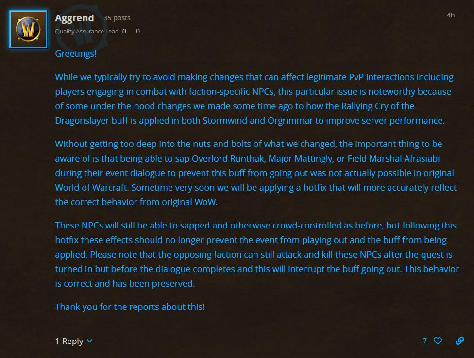 击杀任务NPC将不再会影响屠龙者的咆哮buff的获取