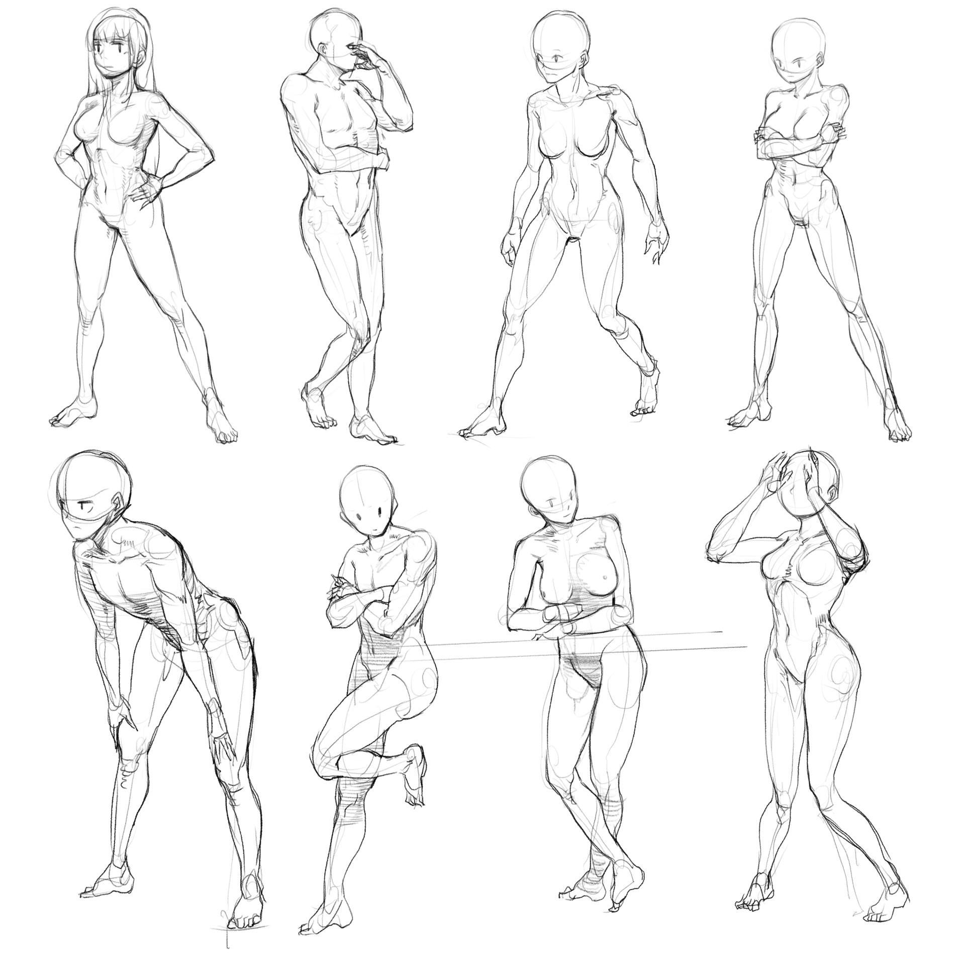 原画插画-人体速写光影肤色律动的曲线肢体语言作品原画插画线稿186P(22)