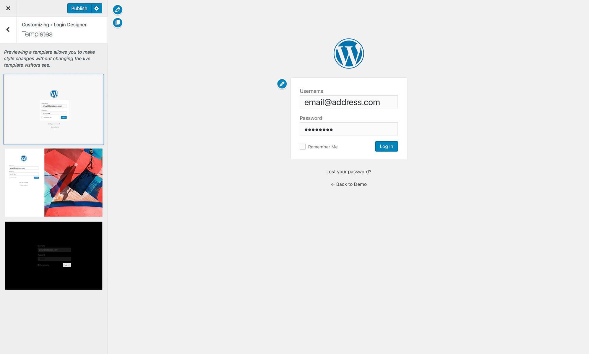 几秒制作最简单时尚的登录注册页面wordpress插件Login Designer