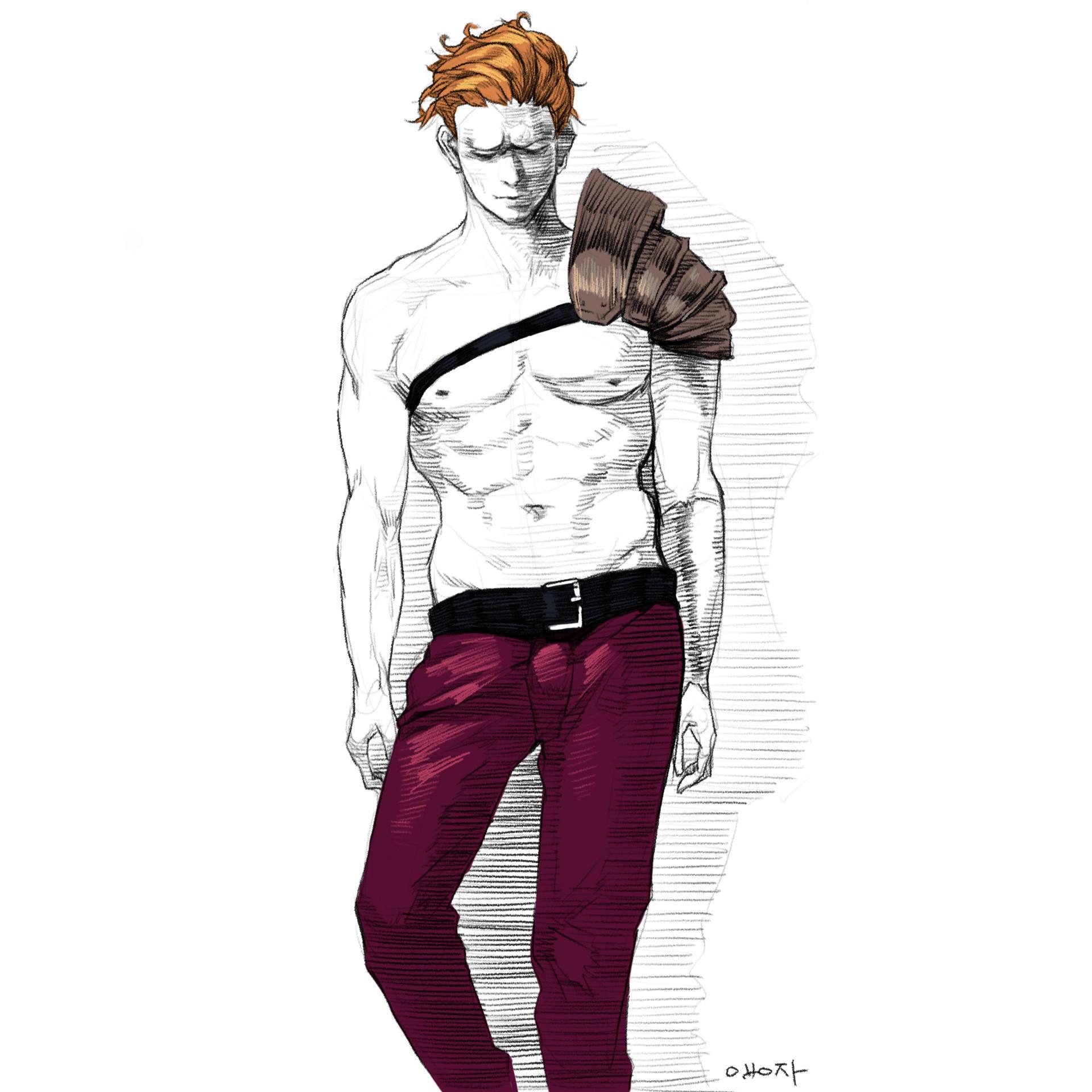 原画插画-人体速写光影肤色律动的曲线肢体语言作品原画插画线稿186P(21)