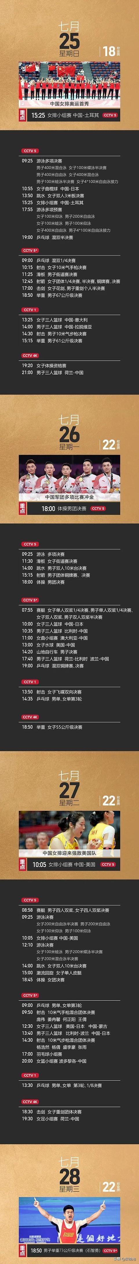 央视体育奥运直播最全指南!CCTV5等多个平台直播女排+国乒等赛事