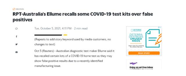 被澳洲坑惨了?澳洲出口美国的新冠测试盒存在假阳性结果