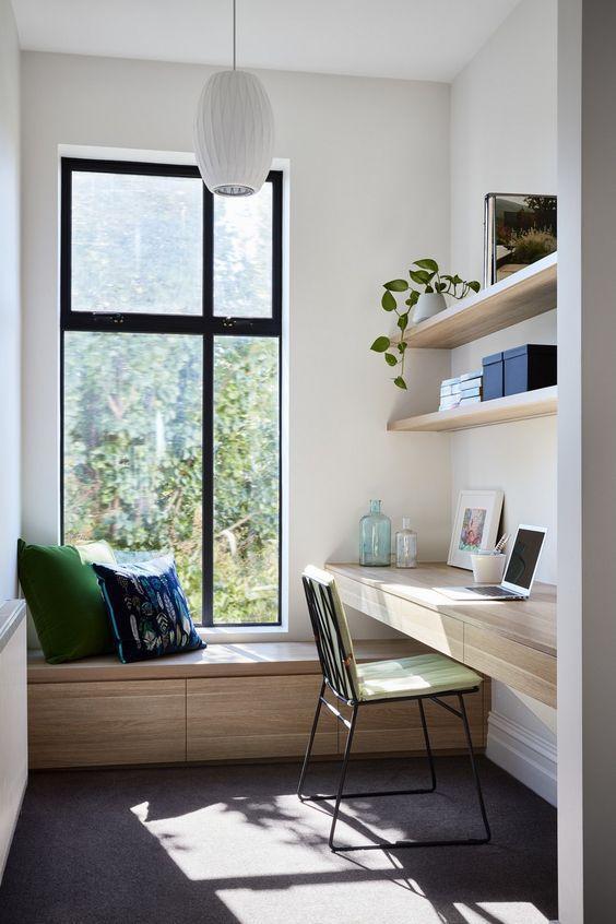 怪不得买房都冲飘窗去,连着打排书桌,上下错层,凭白多个功能区