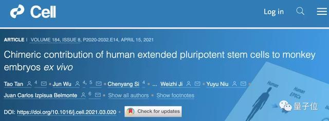 "Cell:人猴""杂交""胚胎可存活,人类细胞占比高,中国科学"