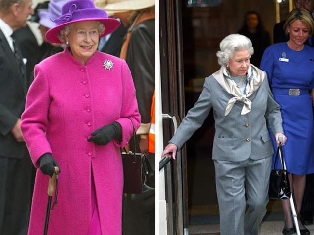 弯腰脚肿拄拐杖,95岁的英国女王确实老了,73岁的查尔斯能继位吗