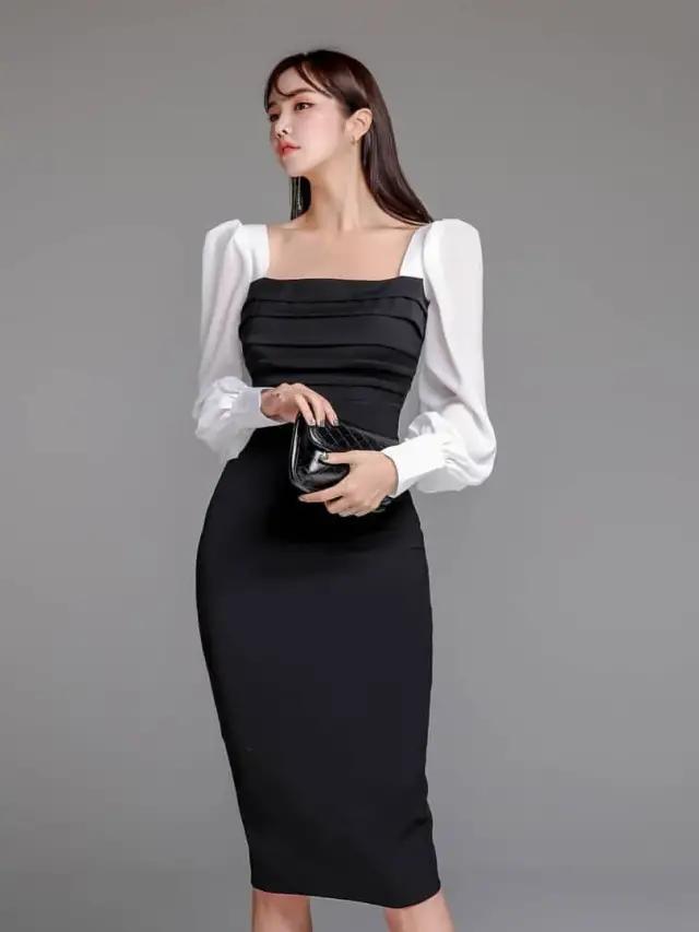 女人尽量避免纯色连衣裙,不妨试试拼接款,端庄优雅显高级