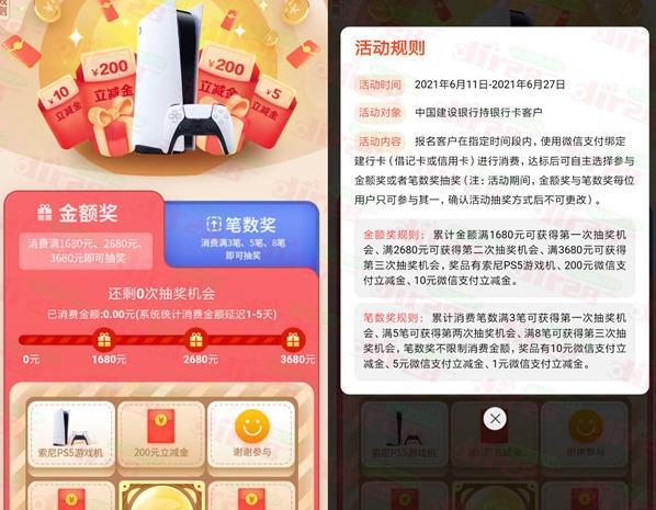 中国建设银行消费达标抽大奖活动 最多可抽奖3次-刀鱼资源网 - 技术教程资源整合网_小刀娱乐网分享-第3张图片