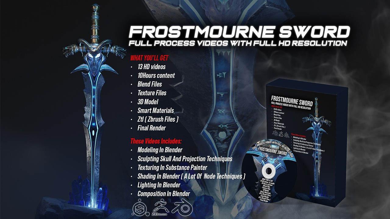 Frostmourne Sword Full Process – Blender Zbrush剑建模材质渲染教程