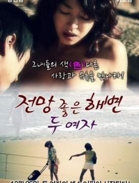 两个女人在有风景的海滩海报