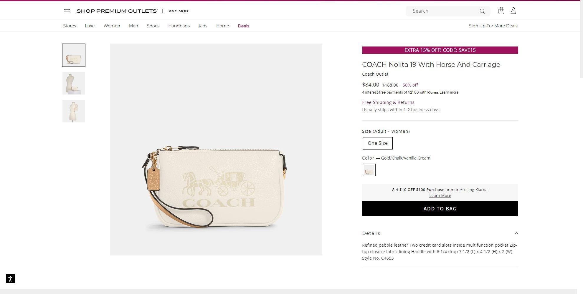 Shop Premium Outlet精选款式85折 订单满50美元免邮